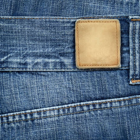 blue jeans: Blue jeans with blank leather label Stock Photo