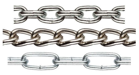 Seamless metal chain parts on white background photo