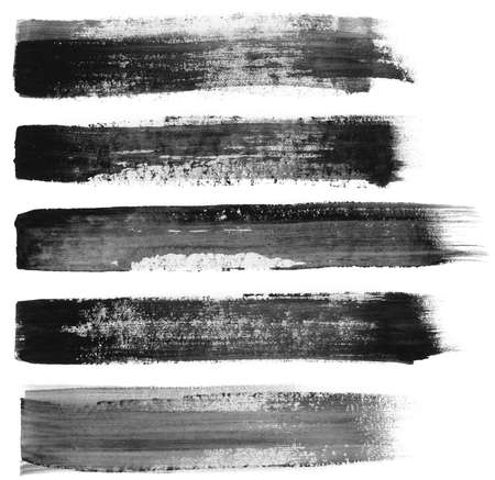 Abstract painted ink strokes set.