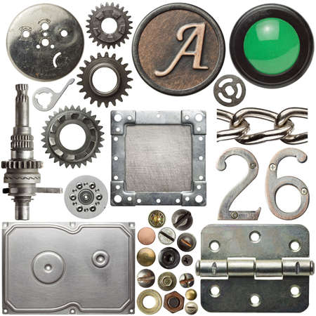 Screw heads, cogs, frames and other metal details photo