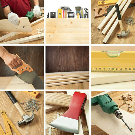 Carpentry tools, woodwork objects collage photo