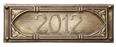 Vintage ornate metal frame with new year number 2012. photo