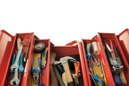 toolbox: Metal toolbox with carpenters tools