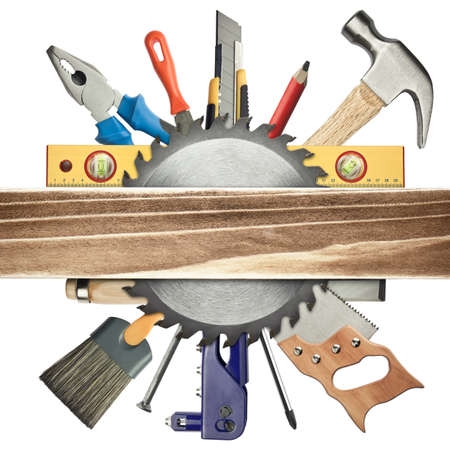 Carpentry background. Tools underneath the wood plank. Stock Photo - 11764777
