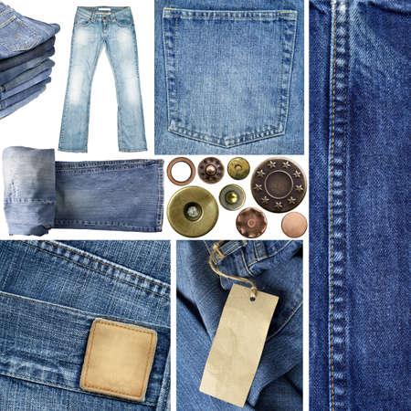 mezclilla: Jeans elementos de la colección. Incluyendo cerca las texturas, los pantalones, los botones, remaches, etiquetas.