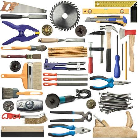ferragens: Ferramentas para madeira, metal e outros trabalhos de construção.
