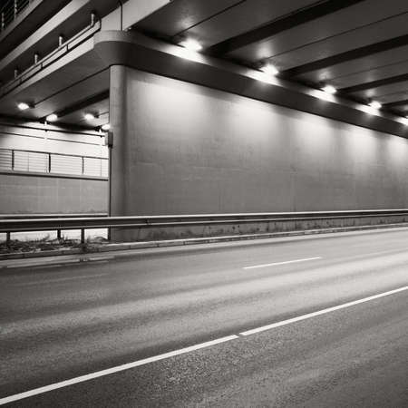 Tunnel road area at night. photo