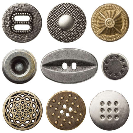 Vintage metal sewing buttons, isolated photo
