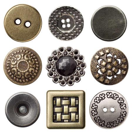 Vintage botones de coser de metal, aisladas