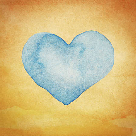 Watercolor artwork. Love symbol heart. photo