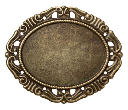 Vintage brass metal frame, isolated. photo
