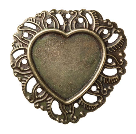 Heart shape vintage metal frame, isolated. photo