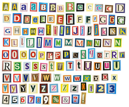 Newspaper, magazine alphabet with letters, numbers. Stock fotó