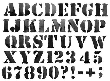 Ink alphabet with symbols and numbers  photo