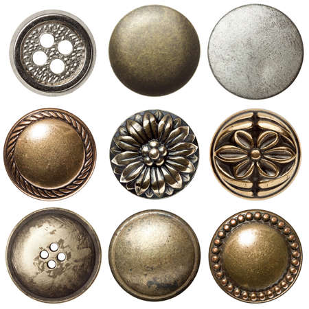 bronze texture: Vintage metal sewing buttons, isolated