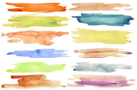Watercolor hand painted brush strokes. photo