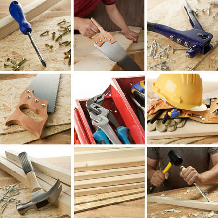 carpenter tools: Carpentry tools, woodwork objects collage