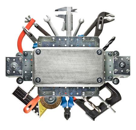 tuercas y tornillos: Construcción de fondo. Las herramientas de metal de trabajo. Foto de archivo