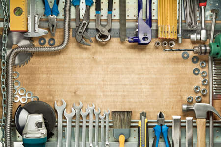 Carpentry, construction tools. Home improvement background. photo