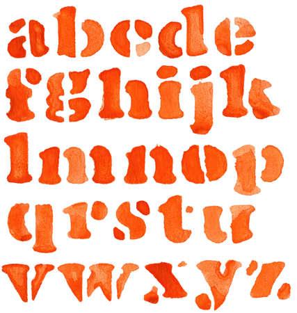abecedario graffiti: Alfabeto pintado de acuarela de color rojo, aislado.
