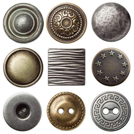 Vintage de coser botones de metal, aisladas