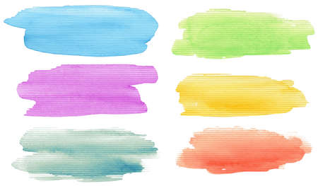 Watercolor hand painted brush strokes set. Isolated on white background. Stock Photo - 12455327