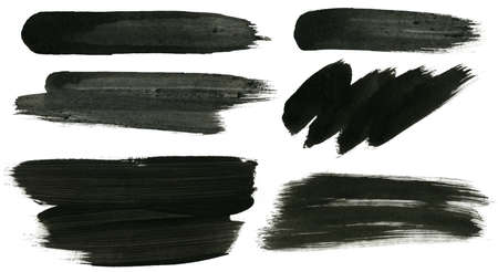 Abstract painted ink strokes set. Stock Photo - 12455331