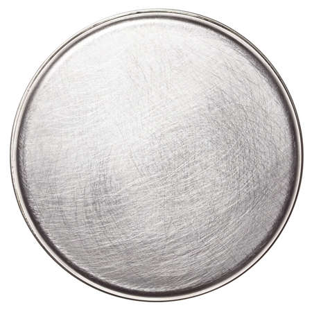 Scratched round metal plate texture photo