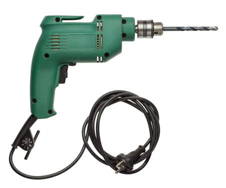 Electric drill with cord and attached metal bit.
