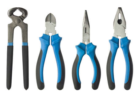 tool kit: Pliers, nippers isolated on white.