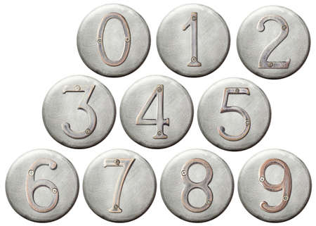 Aged metal numbers on a round metal plate photo