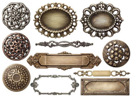 Vintage metal frames, buttons, isolated. Stock Photo - 12455433