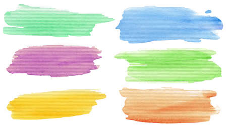 Watercolor hand painted brush strokes set  Isolated on white background   Stock Photo - 12781847