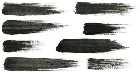 paint brush stroke: Abstract painted ink strokes set   Stock Photo