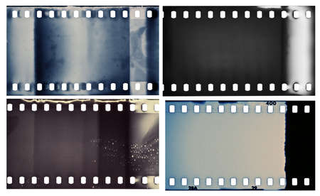 35mm: Blank grained film strip textures Stock Photo