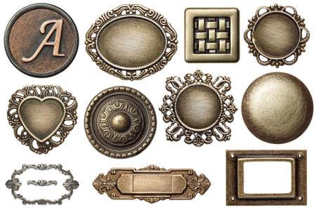 oxidado: Marcos vintage de metal, botones, aislado.