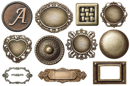 rusty: Vintage metal frames, buttons, isolated.