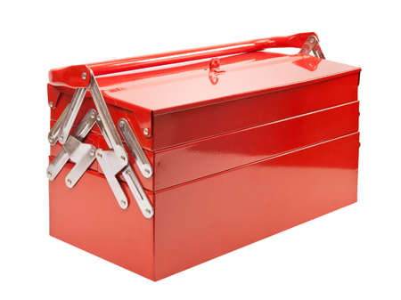 Red metal toolbox isolated on white photo