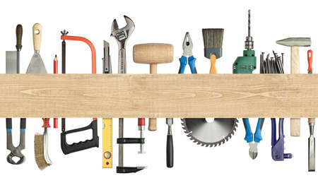 Carpentry, construction background  Tools underneath the wood plank  Image has seamless edges