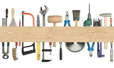 hardware: Carpinter�a, herramientas de construcci�n de fondo debajo de la imagen tabl�n de madera con bordes sin costuras