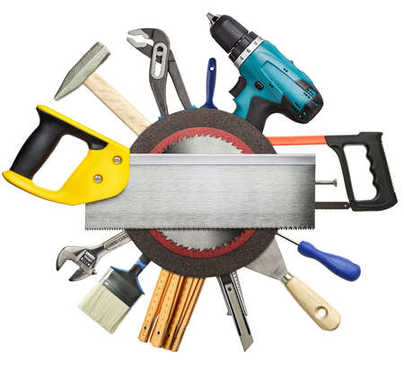 electric tools: Carpentry, construction tools collage background  Stock Photo