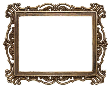 bronze texture: Vintage brass metal frame, isolated. Stock Photo