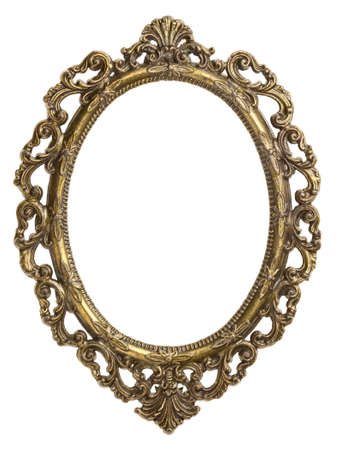 baroque frame: Vintage brass metal frame, isolated. Stock Photo
