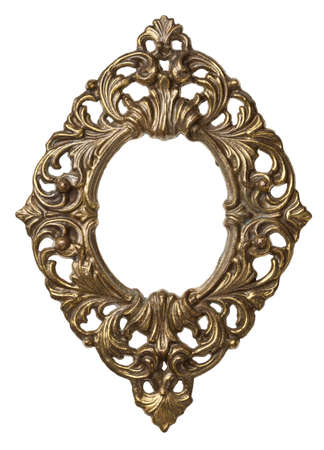baroque ornament: Vintage brass metal frame, isolated. Stock Photo
