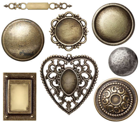 medallion: Vintage metal frames, buttons, isolated.
