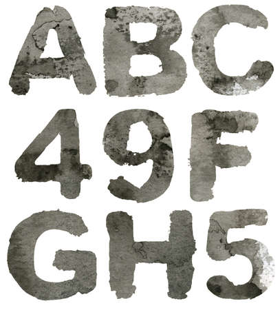 Textured gray ink alphabet, isolated  photo