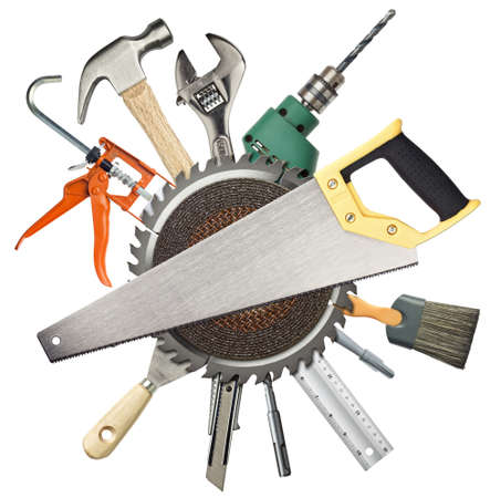tool kit: Carpentry, construction hardware tools collage