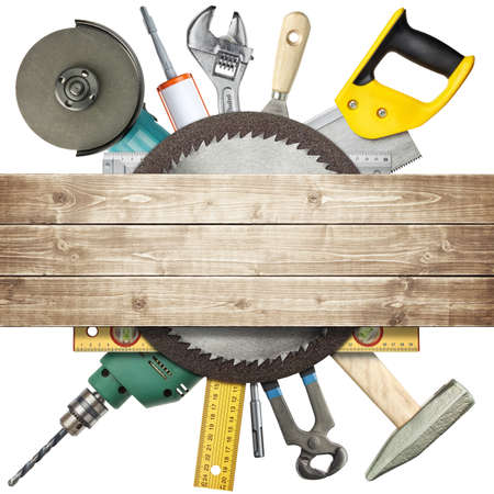 Carpentry, construction hardware tools collage  Stock Photo - 13013033