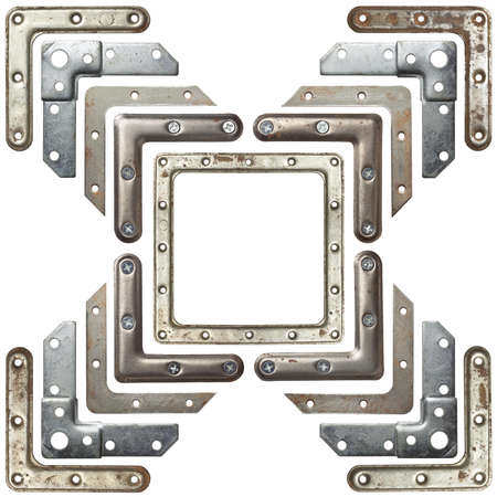 shiny metal background: Metal corners frames, borders. Isolated. Stock Photo