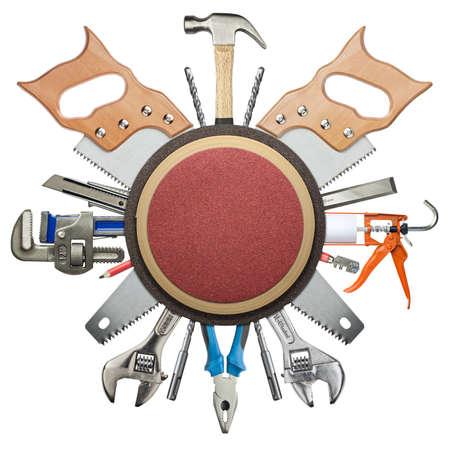 herramientas de carpinteria: Carpintería, herramientas de hardware de la construcción de collage.